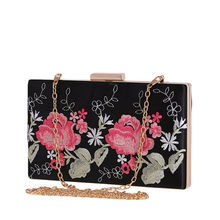 Chi Belle national style Women Clutch Elegant Handbag Evening Bag Ladies Flower Wedding Clutches Female Black Clutch Purse(China)