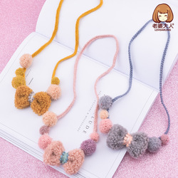 His Wife Japanese And South Korean Style Winter Plush Bow Cute Ball CHILDREN'S Necklace xiang shi pin CHILDREN'S Clothing Store