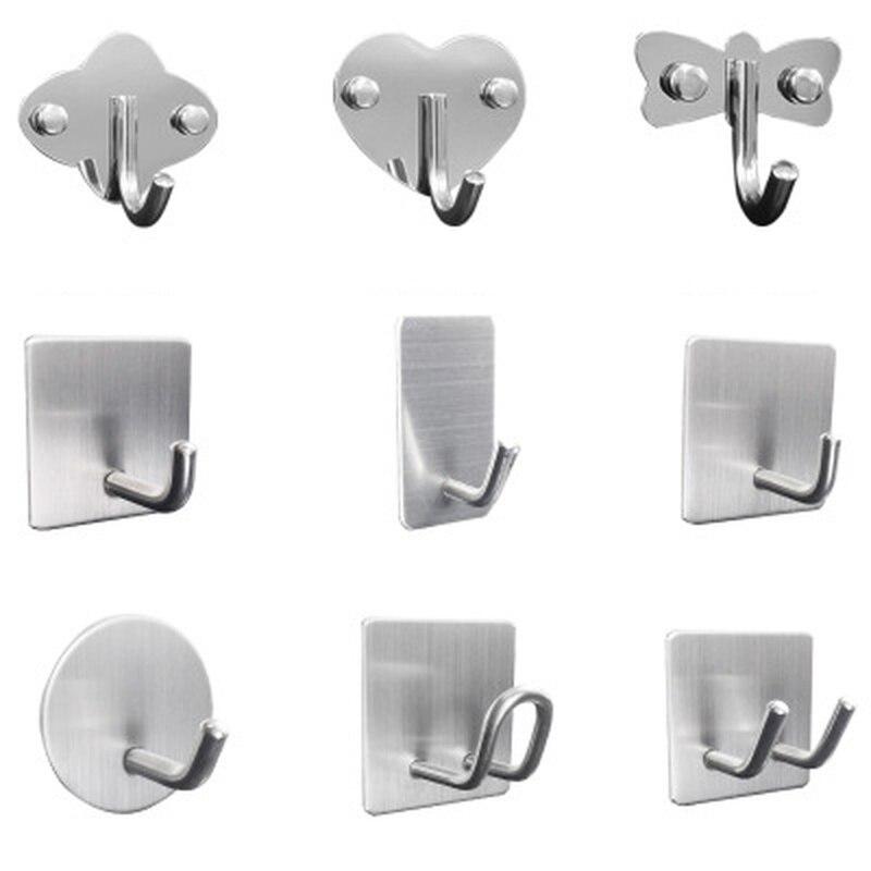 Wholesale 2PCs Rustproof Hook Wall Adhesive Waterproof Single Hooks For Door Back Storage Tool Kitchen Bathroom Restaurant Hotel