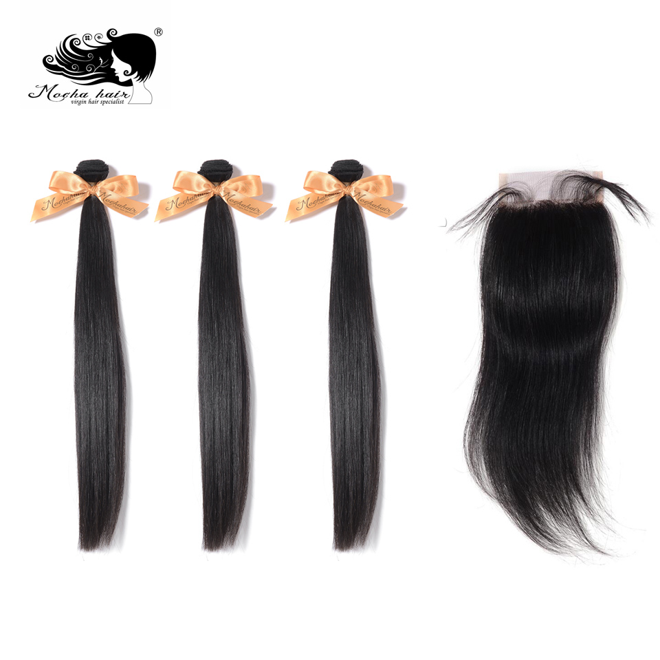 MOCHA Hair 10A  Brazilian Straight Virgin Hair 3 Bundles With One 4* 4 Lace Closure 100% Human Hair Free Shipping