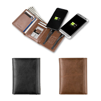 USB Charging Travel Smart Leather Wallet Dual Output Large Capacity Card Holder Purse Shopping Toys For men
