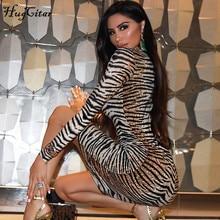 leopard long sleeve slim bodycon dress PU27