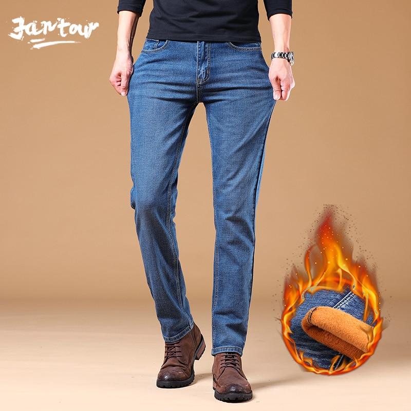 Men Fashion Winter Jeans Men Black Slim Fit Stretch Thick Velvet Pants Warm Jeans Casual Fleece Trousers Male Plus Size 28-38-40