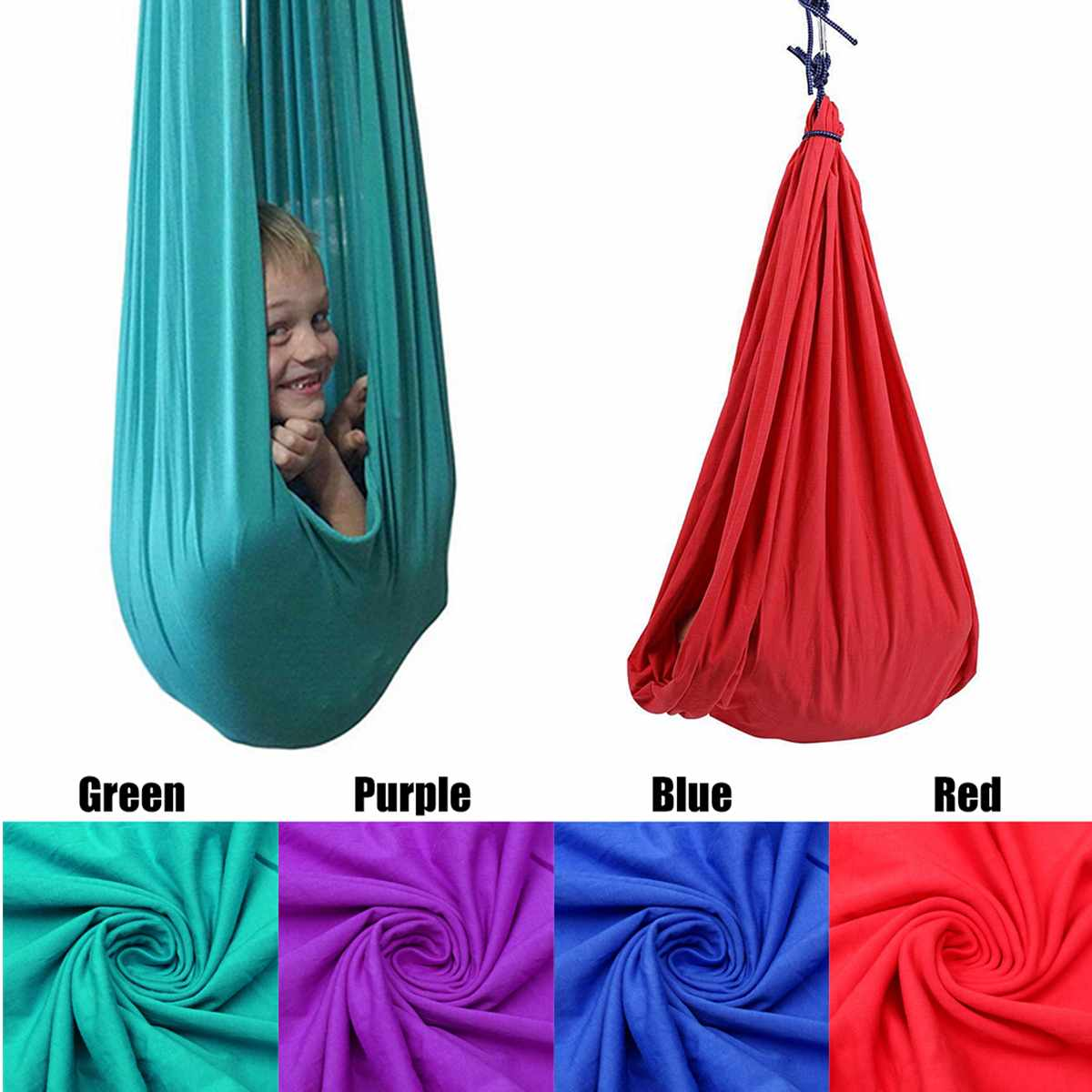 Kids Cotton Swing Hammock For Autism ADHD ADD Therapy Cuddle Up To 88lbs Sensory Child Therapy Elastic Parcel Steady Seat Swing