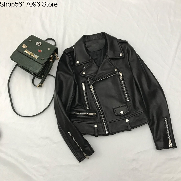 Slp Limited Locomotive Leather Coat Female Genuine Leather Sheep Leather Leather Jacket Coat Suit Collar Short Money Classic