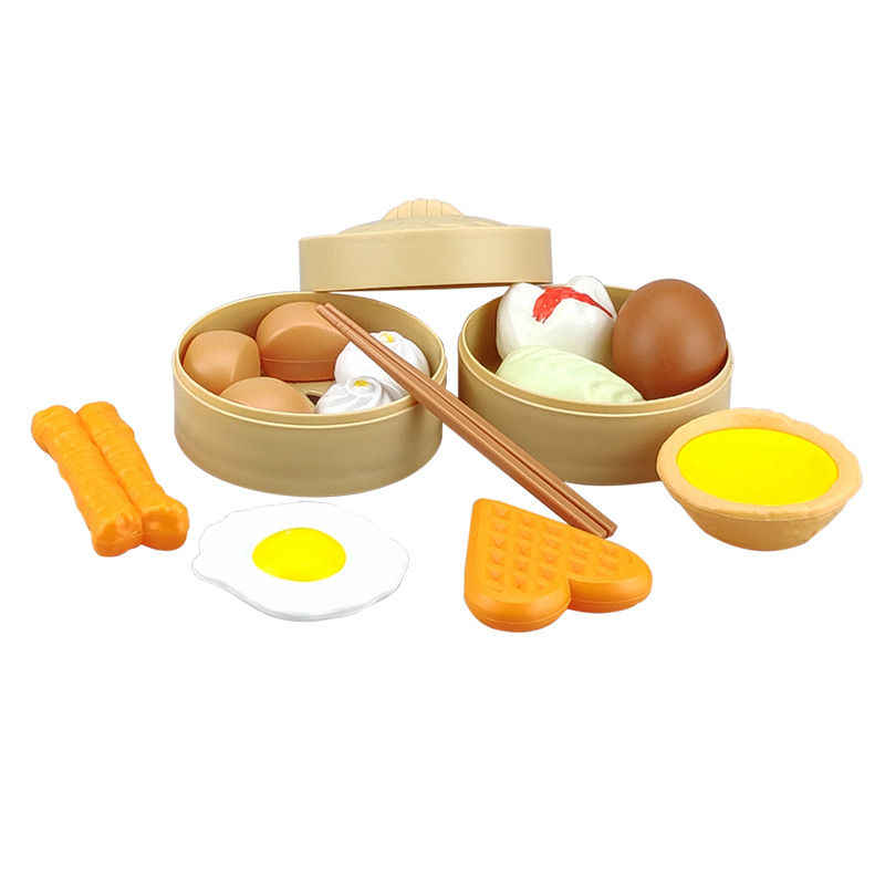 Children Play House Toys 4 Baby Model Kitchen Food Toy Steamer Buns Breakfast Early Cook Suit 6