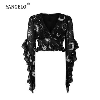 цена на Yangelo Gothic Sun & Moon Pattern Astral Light Blouse Women 2020 Spring Autumn Sexy V-Neckline Harajuku Fashion Girl Chiffon Top