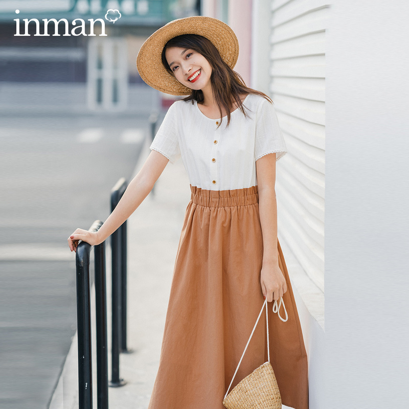 INMAN 2020 Summer New Arriavl Short Sleeve Pure Cotton Round Collar Jacquard Weave Nipped Waist Dress