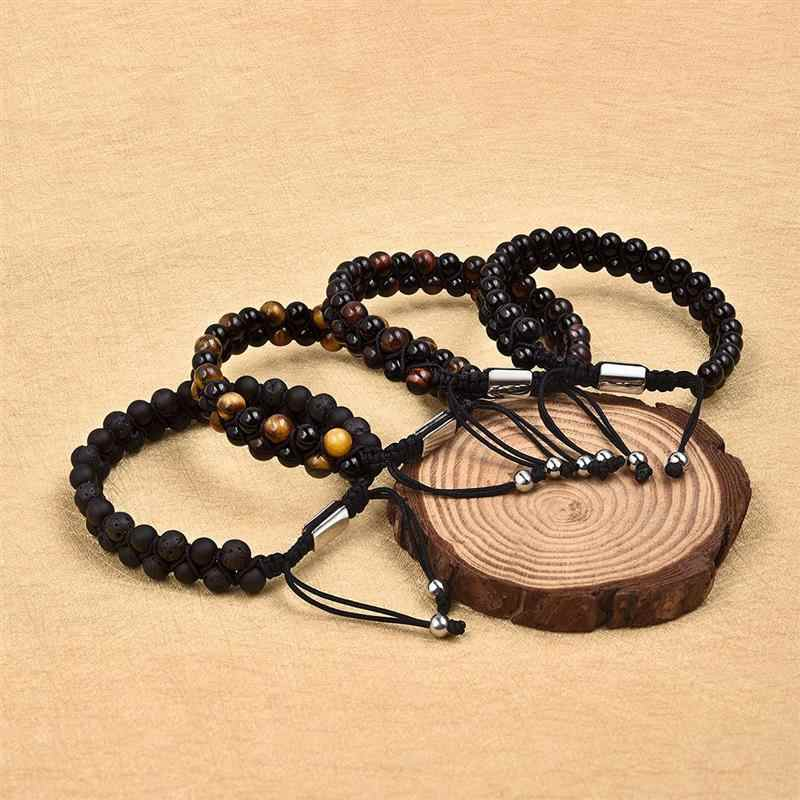 Jiayiqi pedra natural contas braecelet masculino feminino doublelayer tibetano ajustável pulseira chakra lava pedra yoga jóias pulseiras