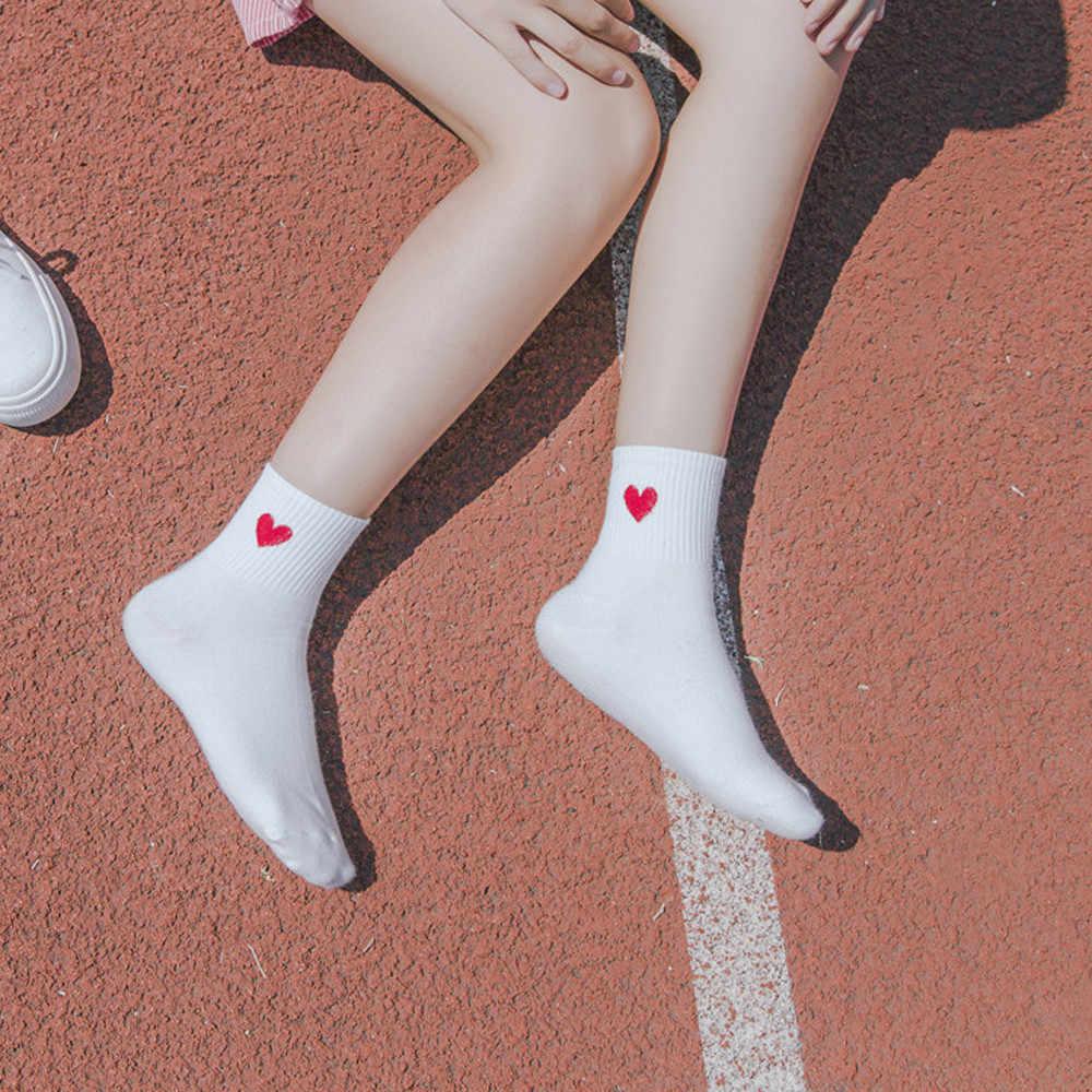 Kawaii Cute Women Heart Pattern Soft Breathable Ankle-High Casual Cotton Socks