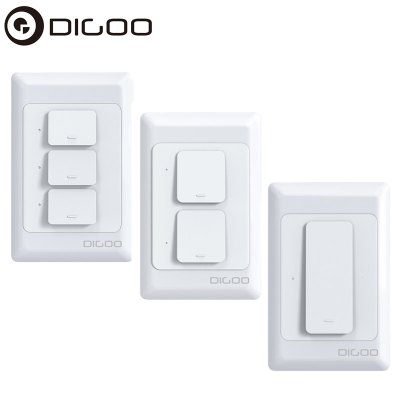DIGOO DG-S811 AC100V-250V 600W 1/<font><b>2</b></font>/3 <font><b>Gang</b></font> Smart <font><b>WIFI</b></font> Wall Button <font><b>Switch</b></font> APP Remote Controller Work With Alexa Google Assistant image