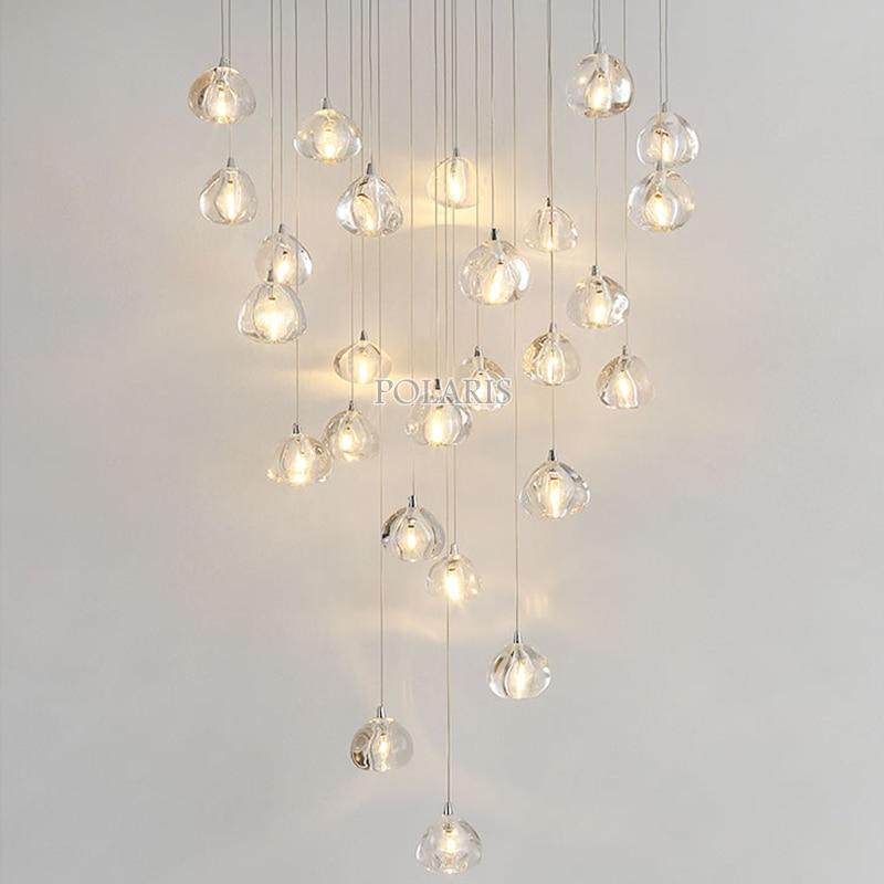 Современный светодиодный хрустальный светильник, большие подвесные светильники, хрустальные светильники для гостиной, столовой, лестницы,...