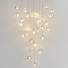 Plafonnier LED suspendu en Cristal orbe, design moderne, luminaire décoratif d'intérieur, idéal pour un salon, une salle à manger, des escaliers ou un hôtel