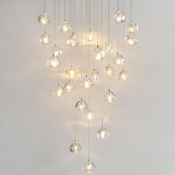 Modern LED Crystal Chandelier Lighting Large Hanging Lights Orb Cristal Lamps for Living Dining Room Staircase Hotel Decoration
