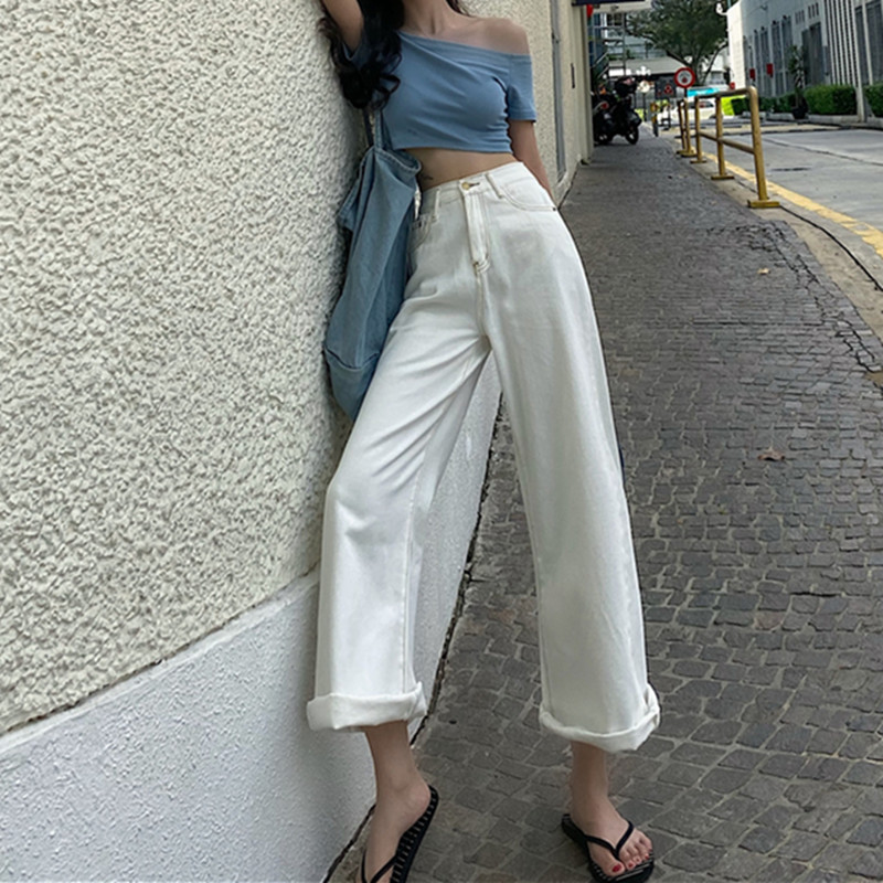 Woman Jeans High Waist Clothes Wide Leg Denim Clothing Streetwear Vintage Quality 2020 Fashion Harajuku Loose Straight Pants