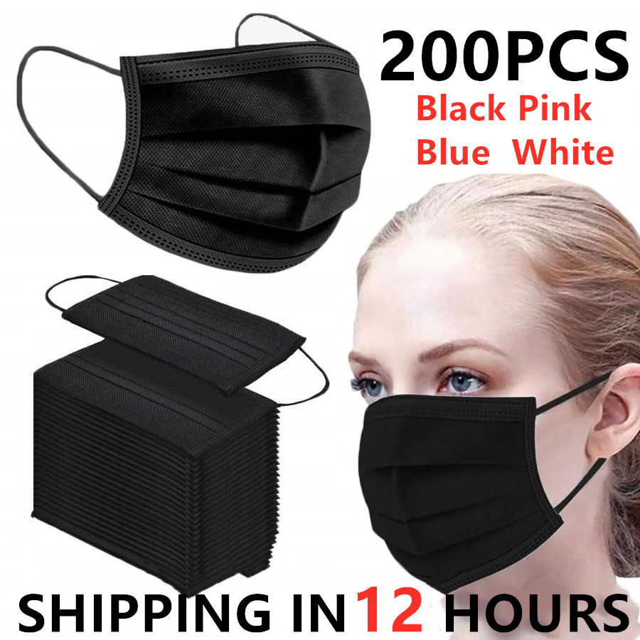 Бесплатная доставка, черная 3-слойная маска, 200 шт. маски со спущенной тканью для лица, одноразовые противопылевые маски, маски с петлями для ...