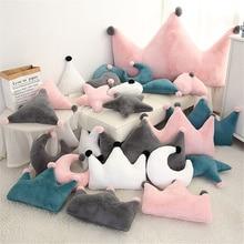 Baby Pillow Newborn Room Sofa Crib Bed Decoration Plush Toys INS Soft Pillow Cute Boy Girl Kids Crown Stars Pillow Cushion Decor