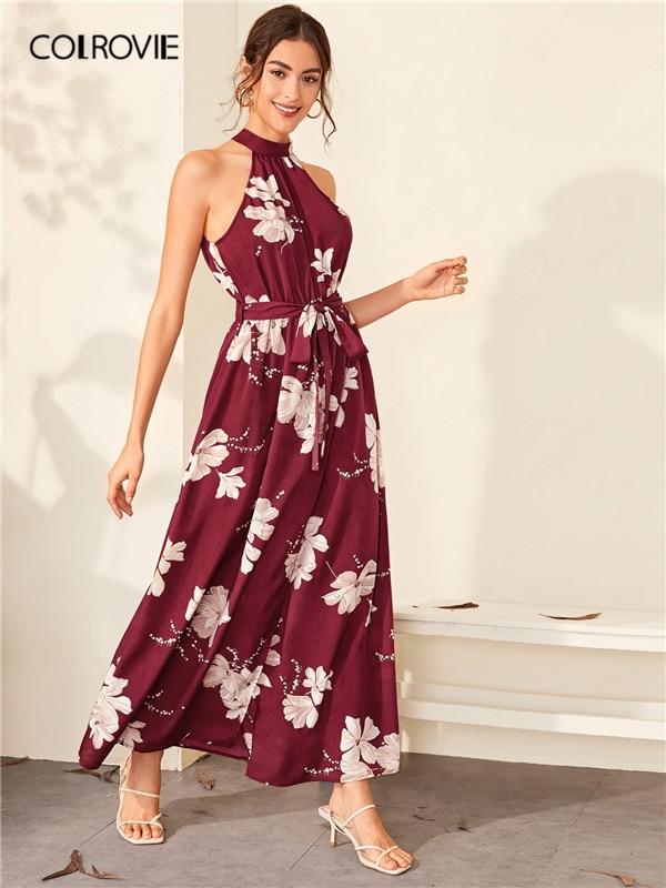 COLROVIE Burgundy Floral Print Wrap Hem Belted Halter Dress Women High Waist Maxi Dress 2020 Spring Summer A Line Boho Dresses 4