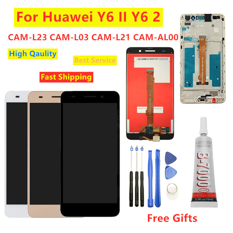 For Huawei Y6II Y6 II CAM-L23 CAM-L03 CAM-L21 CAM-AL00 Full LCD DIsplay Touch Screen Digitizer Assembly With Frame For Honor 5A