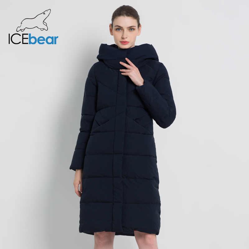 ICEbear 2019 nowych kobiet moda marka parka kurtka zimowa proste mankiet projekt wiatroszczelna ciepłe płaszcze damskie wysokiej jakości GWD18150