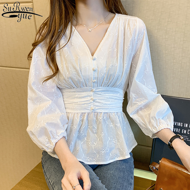 V-neck Shirt Woman Solid White Lace Top Sweet Blouse Women 2021 Autumn Chic Long Sleeve Office Lady Clothing with Button 10539 1