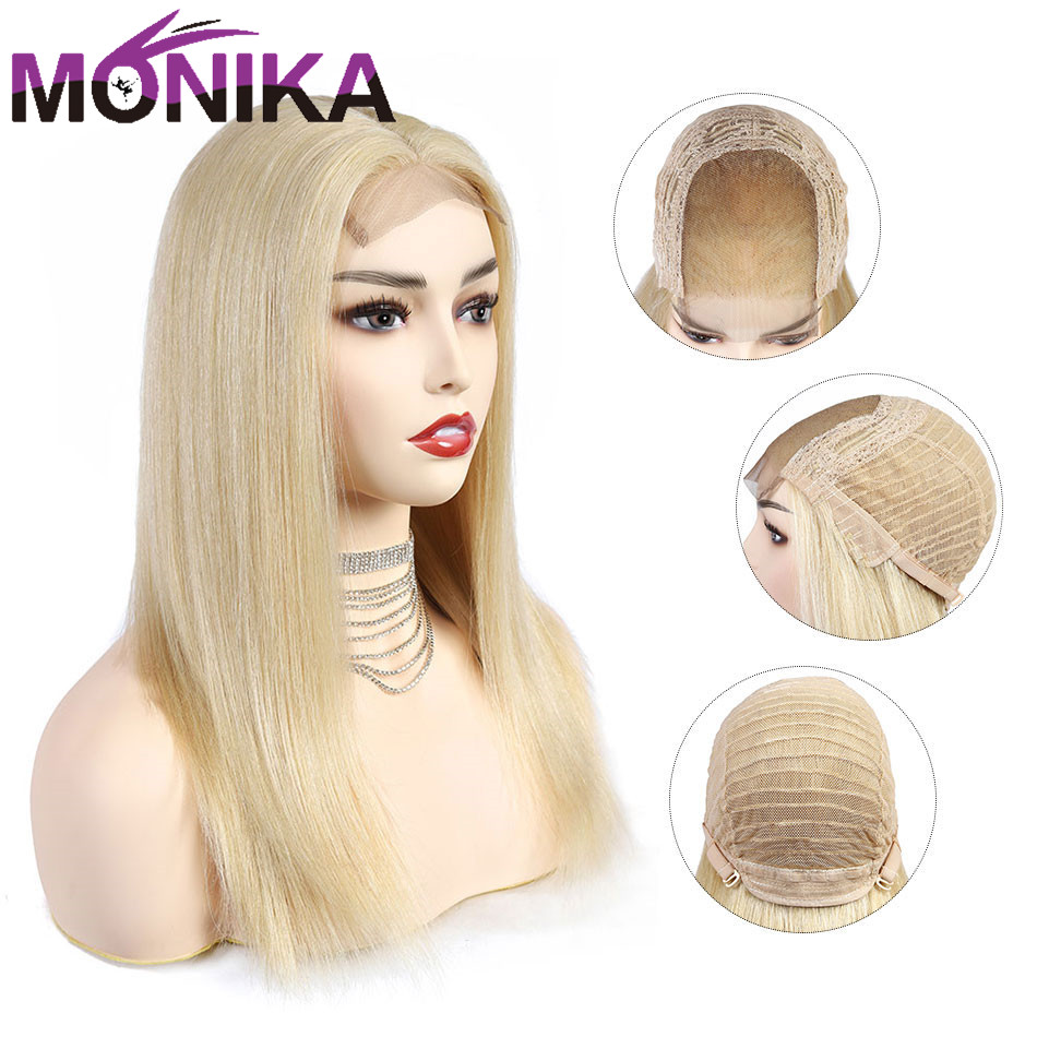 Monika Remy Hair Transparent Lace 613 Closure 4*4 Part Lace Wig Human Hair Closure Wigs Female Blonde Bob Pixie Wigs For Black
