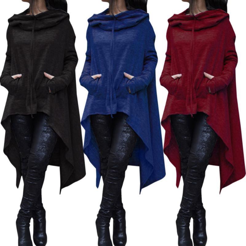 2019 Irregular Hoodies Solid Color Fashion Oversize Hoodies Sweatshirt Women Loose Hoody Mantle Hooded Pullover Outwear Coat 1