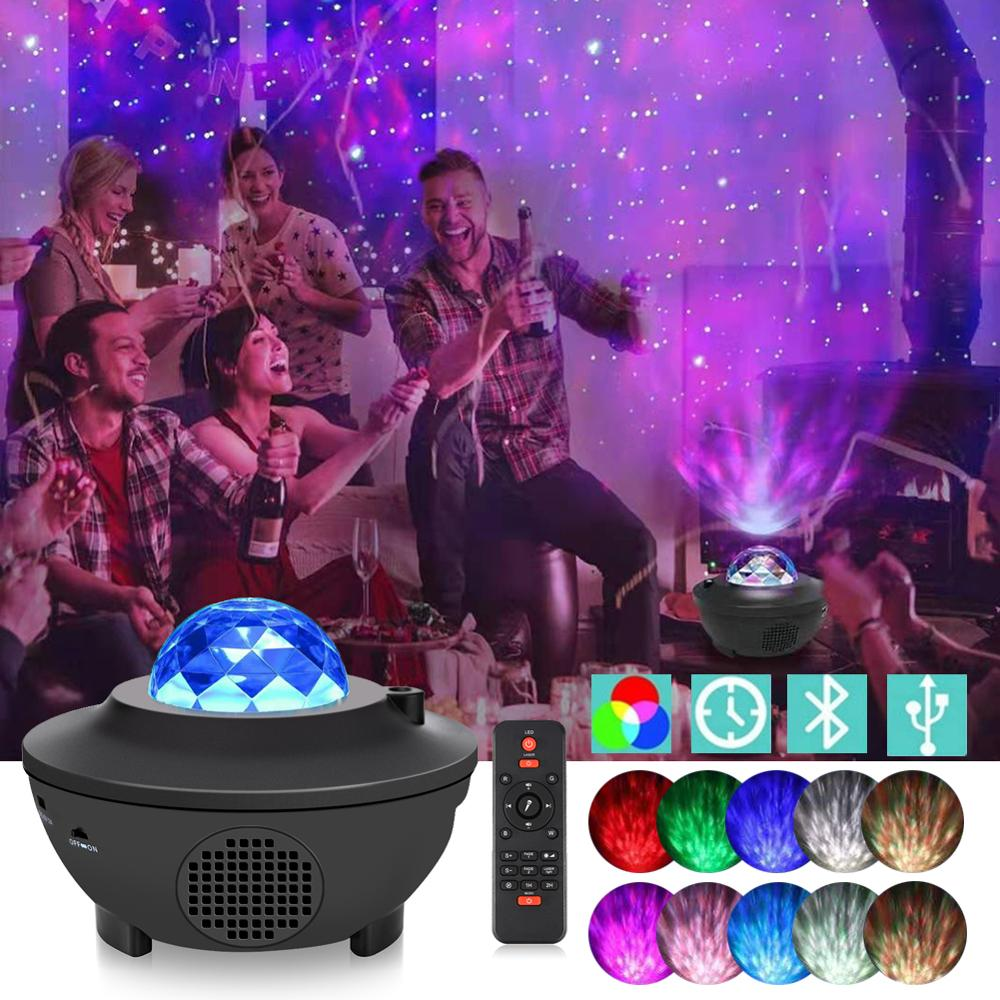Colorful LED Projector Light Starry Sky Bluetooth USB Remote Control Nightlight Lamp For Children Kids Baby Bedroom Nursery Gift