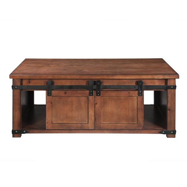 Coffee table With Storage Shelf and Cabinets, Sliding Doors 1