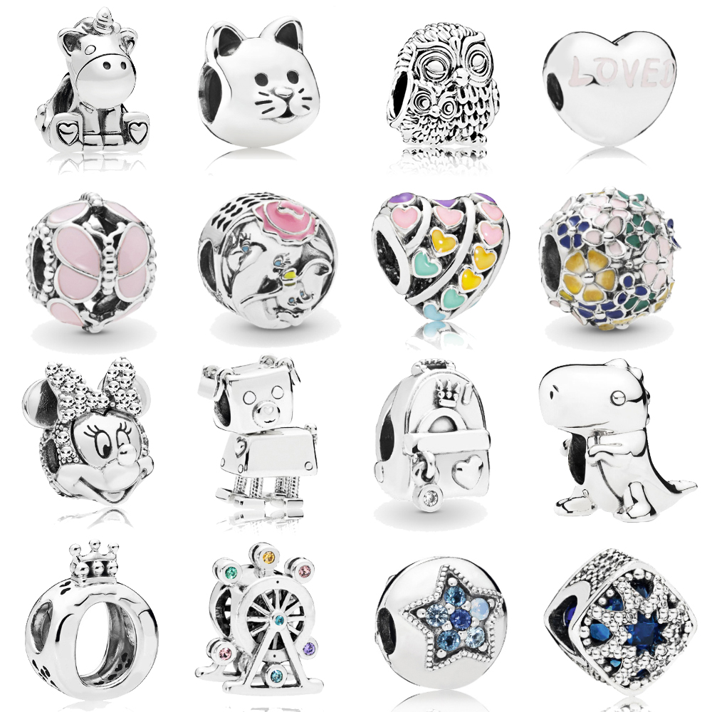 Dinosaur Ferris Wheel Bright Star Crown Letter O Charms Beads Fit Pandora Bracelet & Necklace For DIY Making Accessories Jewelry