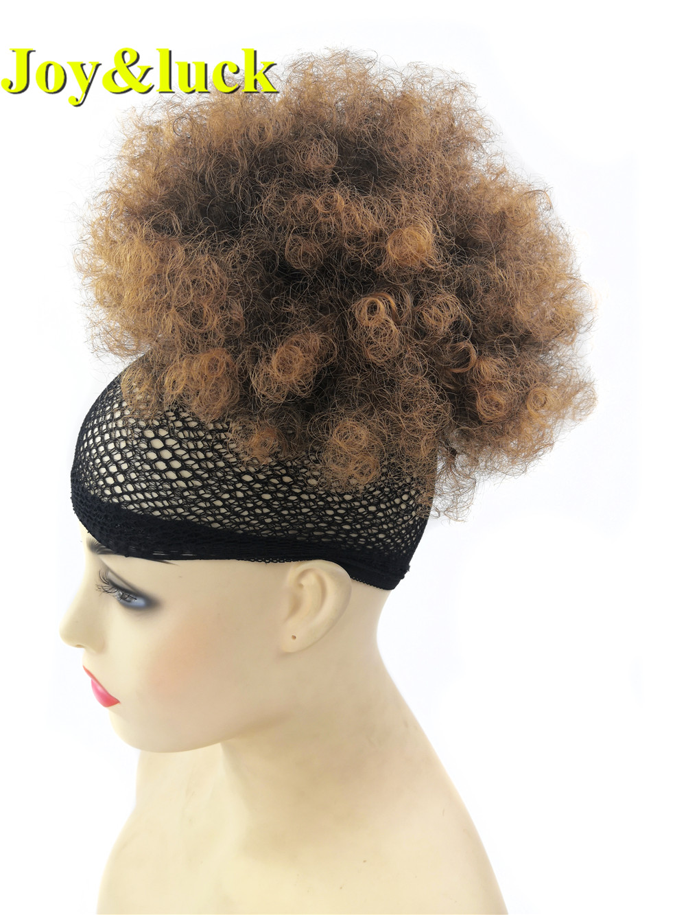 Joy&luck Short Afro Curly Drawstring Puff Chignon for Black Women Synthetic Curly Wig Ponytail with Clip in Brown Color