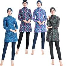 Digitally Printed Middle Eastern Conservative Swimsuit Sunscreen Three-piece Swimsuit burkini muslim swimwear islamic swimsuit