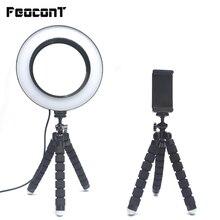 Lampa pierścieniowa 16cm lampa pierścieniowa Led ze statywem do smartfona makijaż Youtube TikTok Live Vider możliwość przyciemniania Selfie oświetlenie fotograficzne