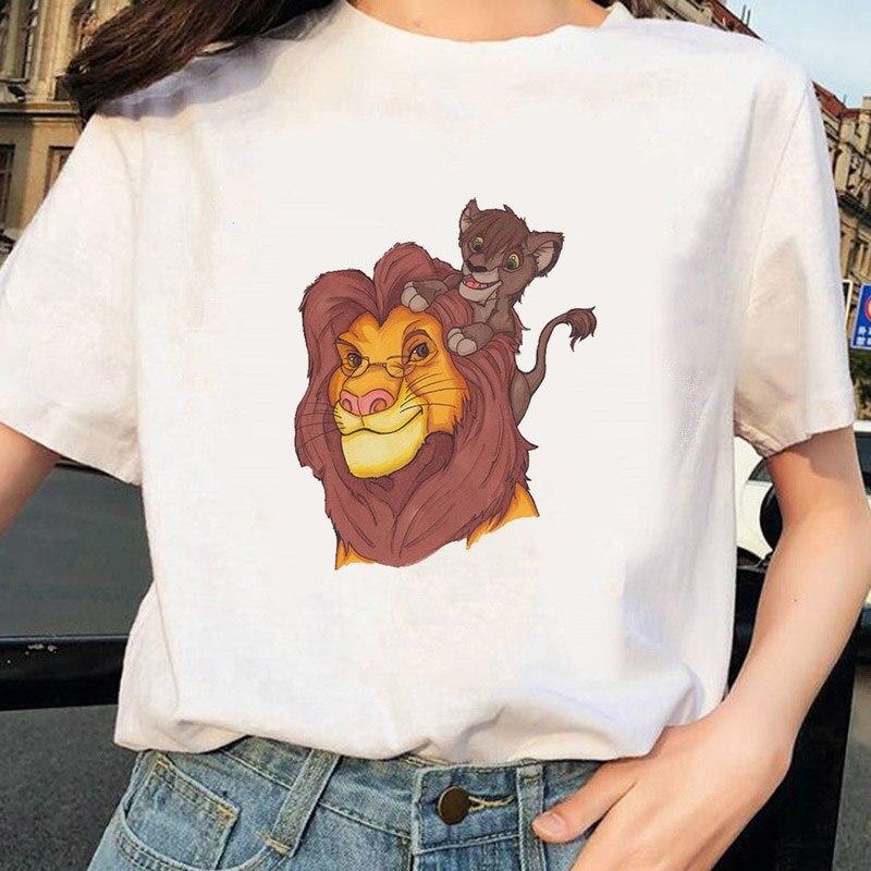 Lion King Printed Tshirt Ullzang Casual Tshirt Female Top Tees Short Sleeve Harajuku Summer 2020 Women T-shirt