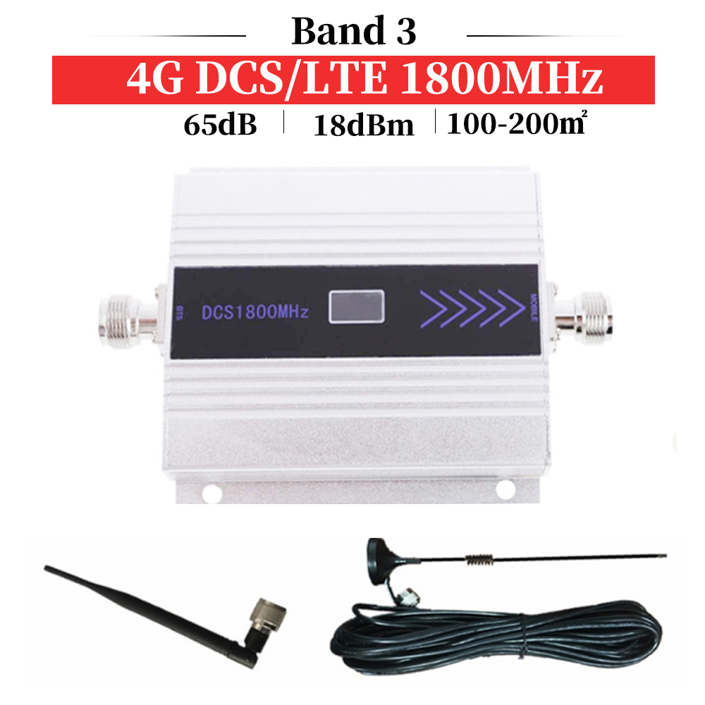 Mini 4G LTE signal enhancement repeater 1800Mhz mobile phone cellular DCS1800 mobile phone LCD display + suction cup antenna eas