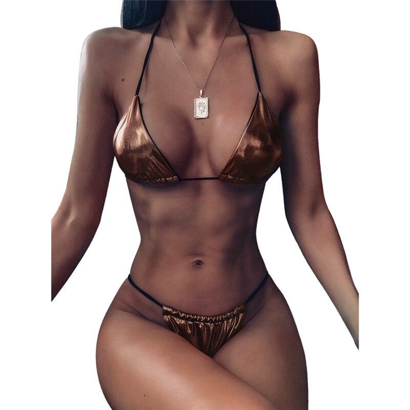 Sexy Shiny Women Metallic Leather Biquini Bathing Suit Swimsuit Plus Size Swimwear Women Brazilian Micro Mini Bikini Sets