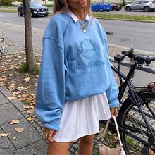 Indie estetyka bluzy damskie 90s Streetwear haft Oversized Y2K Vintage e-girl bluzy Crewneck jesień 2020 przyjaciele tanie tanio spandex CN (pochodzenie) Wiosna jesień REGULAR Pełna STANDARD Suknem women hoodies 460G Swetry List Osób w wieku 18-35 lat