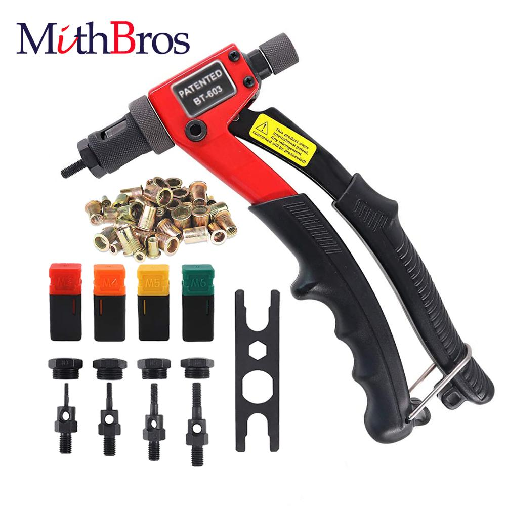 MithBros Manual Rivet Gun Kit Hand Rivet Tool Rivet Nut Setting Tool Nut Setter Hand Riveter with Mandrels M3 M4 M5 M6 BT-603