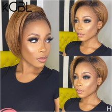 KGBL 13*4 Pixie Bob Lace Front Human Hair Wigs With Baby Hair 8 inches 150% 180% Density Brazilian Non-Remy Medium Ratio Wig(China)