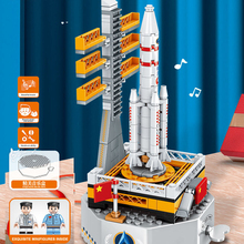 New Rocket Astronauts Building Small Cartoon Model Education Game Toy Light Music Box Puzzle Building Blocks Children Toys Gifts