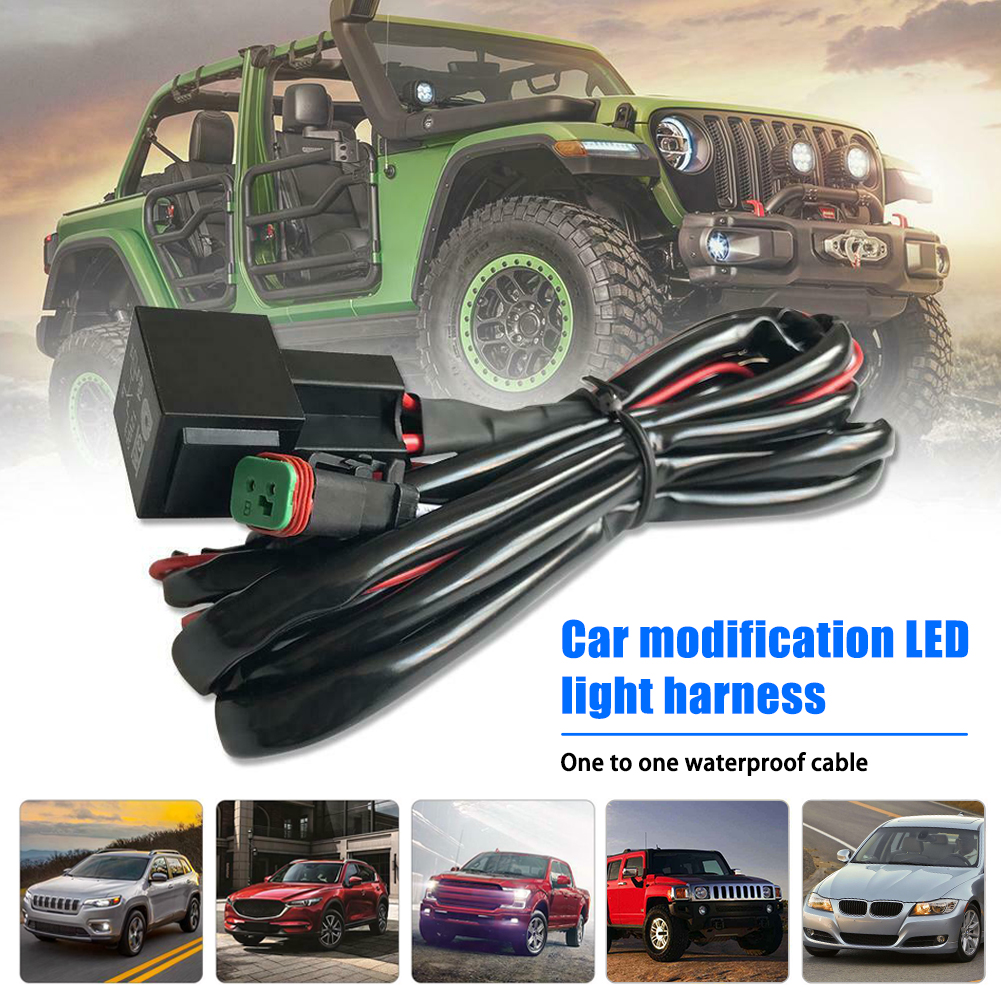 6.6ft Offroad LED Work Light LED Light Bar Wire Wiring Harness Switch Relay Kit For Connect 2 LED Work Driving Light Bar