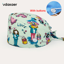 Hats Scrubs Surgicals-Caps Elastic Cotton with Button-Cotton-Anime Printing-Hats High-Quality