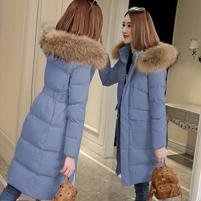 Mode Winter Jacke Frauen Große Pelz Gürtel Mit Kapuze Dicke Daunen Parkas Weibliche Jacke Warme Winter Mantel Dünne Lange Outwear 2019 neue