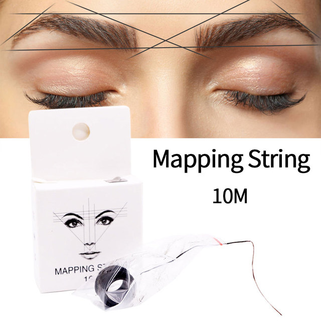 10m 2pcs Permanent Pre Inked Mapping String Microblading Measuring Portable Eyebrow Marker Thread Ultra Thin Brows Point 4