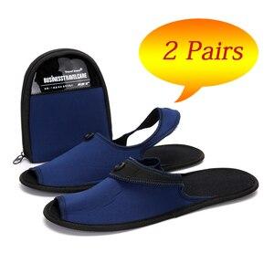 Image 1 - Осенняя обувь, 2 пары, мужская повседневная обувь, дышащие домашние тапочки, обувь для пар, для отеля, для деловых поездок, складные мюли