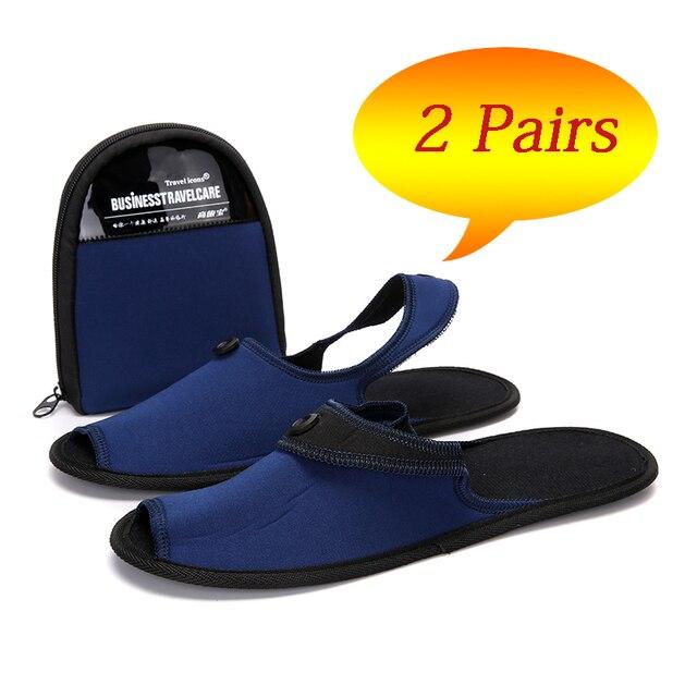 Осенняя обувь, 2 пары, мужская повседневная обувь, дышащие домашние тапочки, обувь для пар, для отеля, для деловых поездок, складные мюли