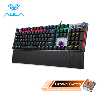 AULA F2088 Gaming Mechanical Keyboard Blue Brown Switch Wired Mix Backlit Keyboard 104 Keys Anti-ghosting for Gamer PC Desktop - Spain, 108 brown switch