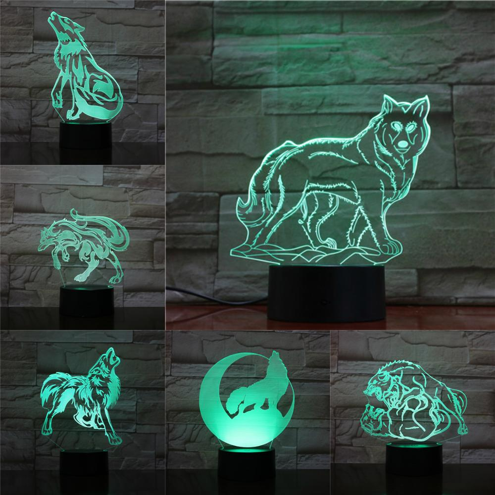 Creative Wolf 3D Light Touch Remote Lamp Abstract Acrylic Lamparas Kids Christmas Birthday Gifts Baby Sleeping Table Decoration