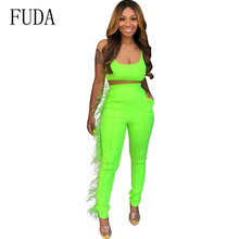 FUDA Women Sexy Bodycon Two Pieces Sets Vintage Burr Vest Tights Rompers Elegant Sleeveless Hollow Out Slim Pockets Playsuits