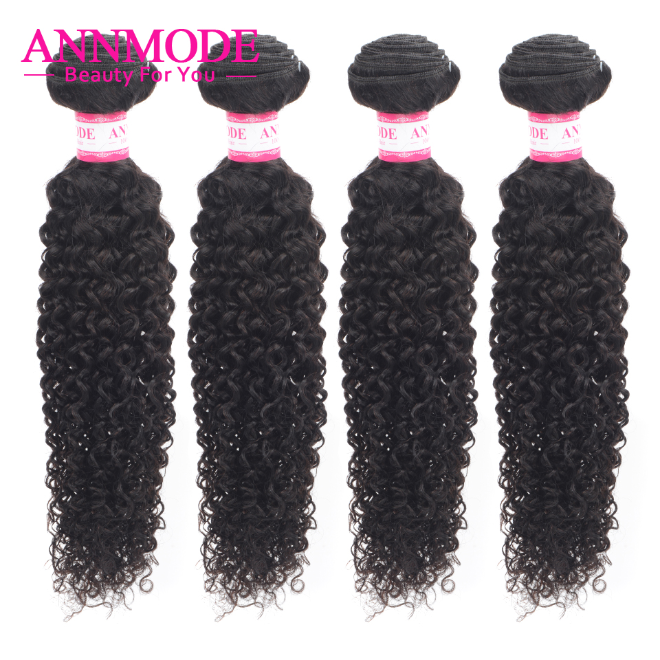 Annmode Pelo Rizado Afro 3/4 pc Color Natural 8-26 pulgadas pelo brasileño armadura paquetes no Remy humano extensiones de cabello